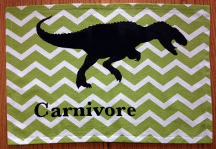 Completed carnivore dino placemat